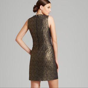 TAHARI Gold Metallic Lace Sheath Fran Dress